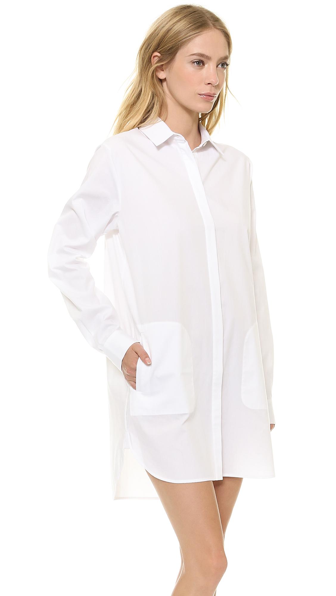 Lyst t by alexander wang cotton poplin long sleeve for White long sleeve tee shirt womens