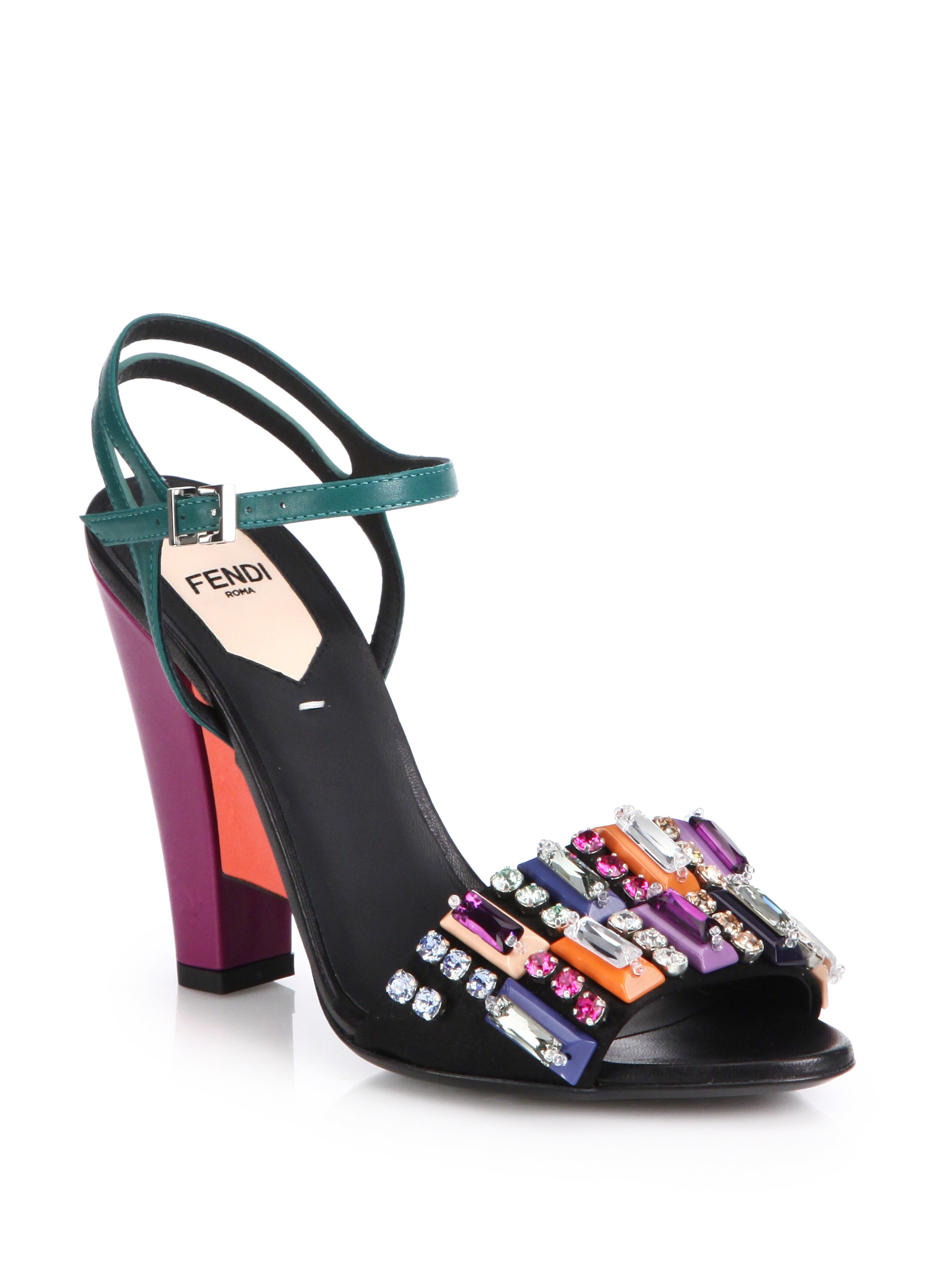 Fendi Bejeweled Colorblock Leather Sandals Lyst