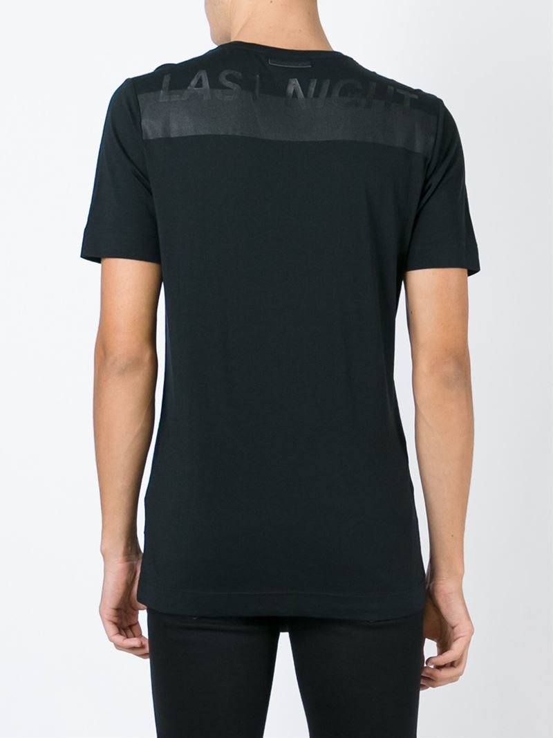 Diesel black gold back print v neck t shirt in black for V neck black t shirt