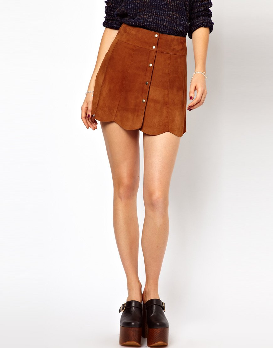 Brown Suede Mini Skirt - Skirts