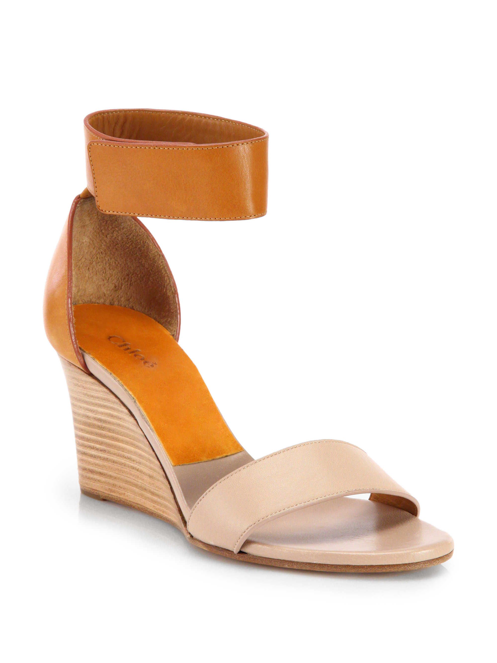 Lyst - Chloé Gala Leather Ankle Strap Wedge Sandals in Orange