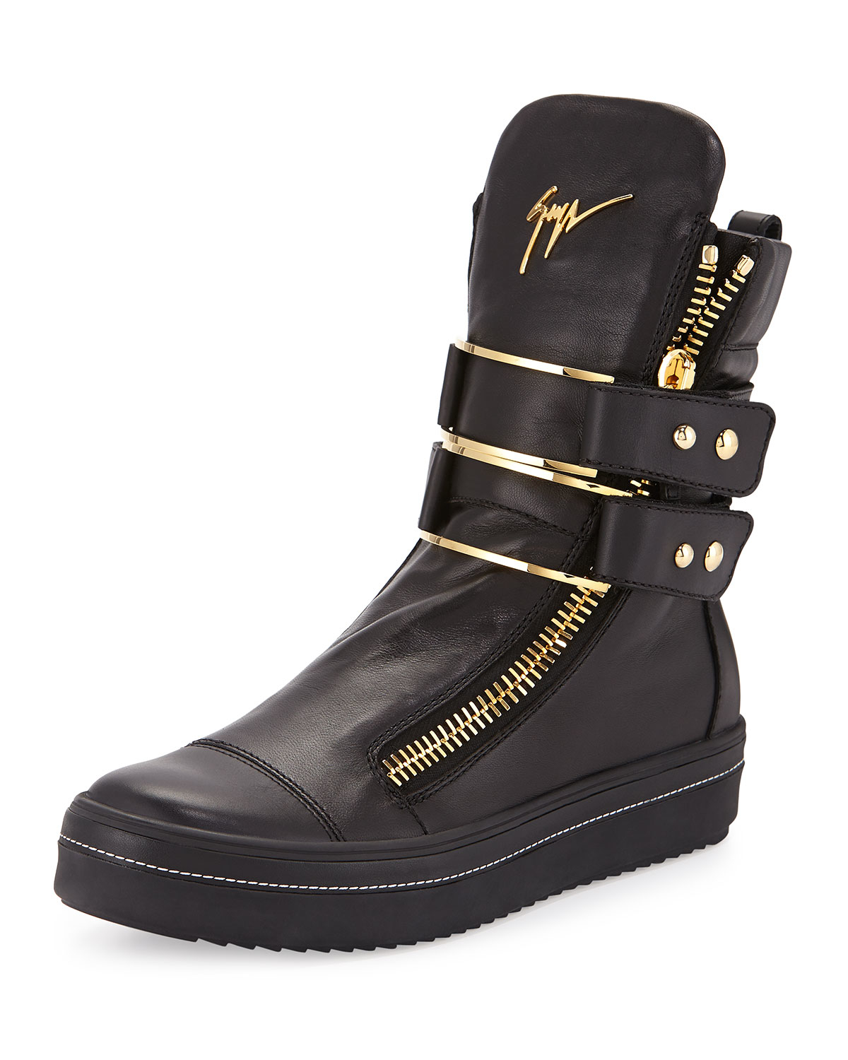 Giuseppe Zanotti Kurt Leather High Top Buckled Sneakers In