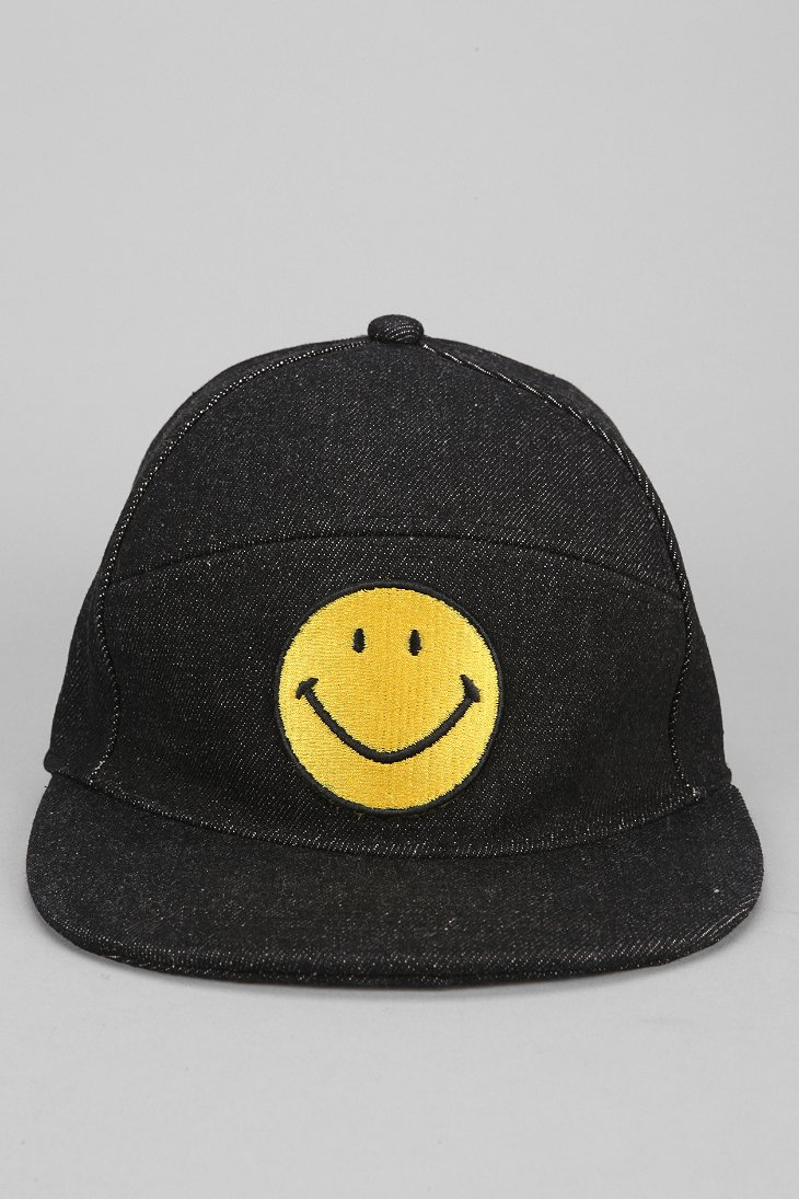 Urban Outfitters Smiley Face Snapback Hat In Yellow For