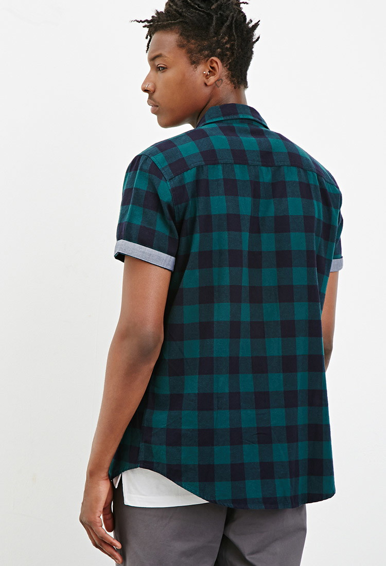 Lyst Forever 21 Chambray Trimmed Buffalo Plaid Shirt In