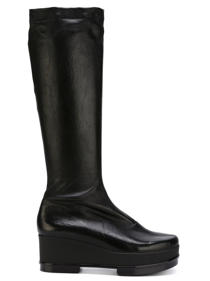 robert clergerie knee high wedge boots in black lyst