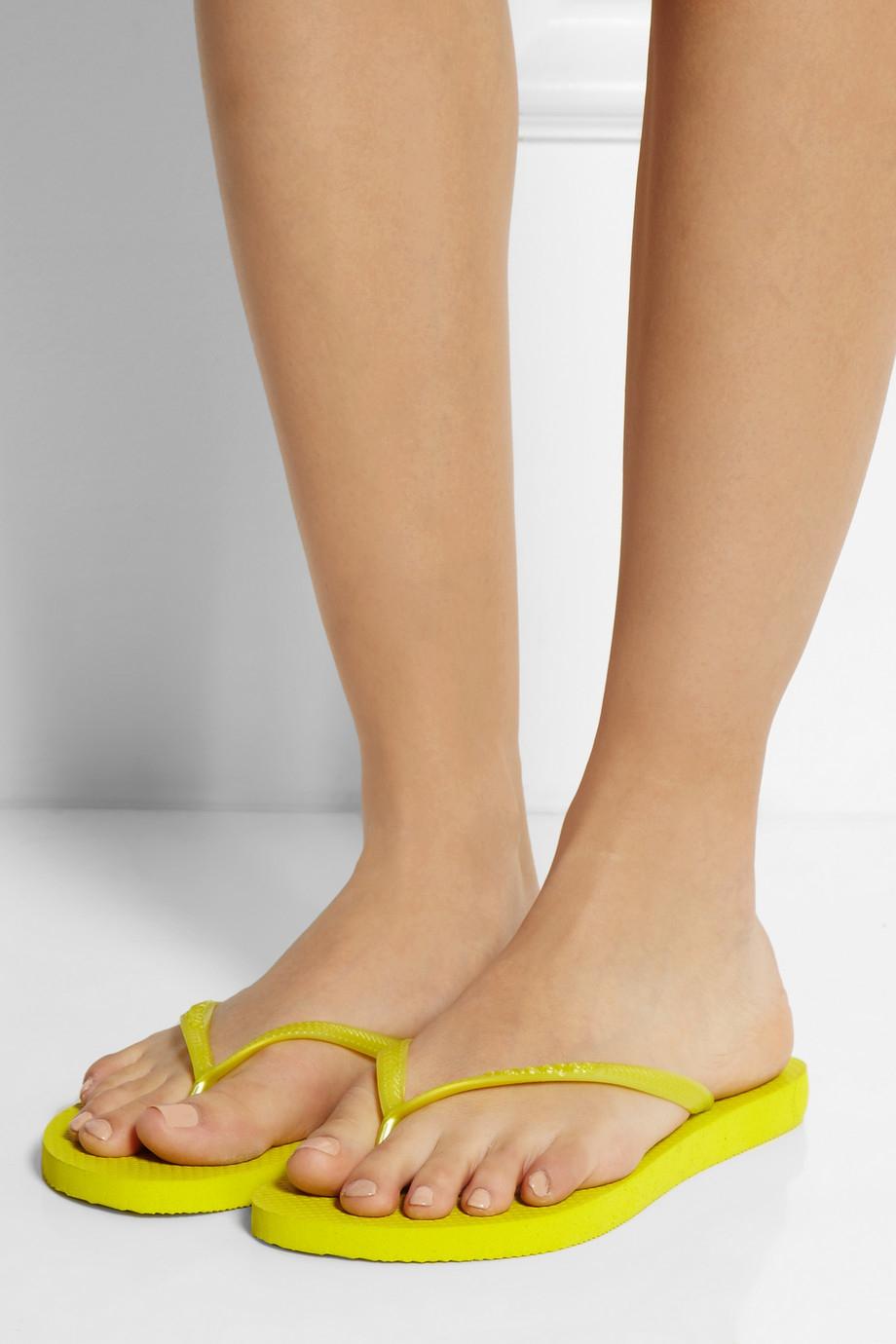 Havaianas Slim Neon Rubber Flip Flops In Yellow Lyst