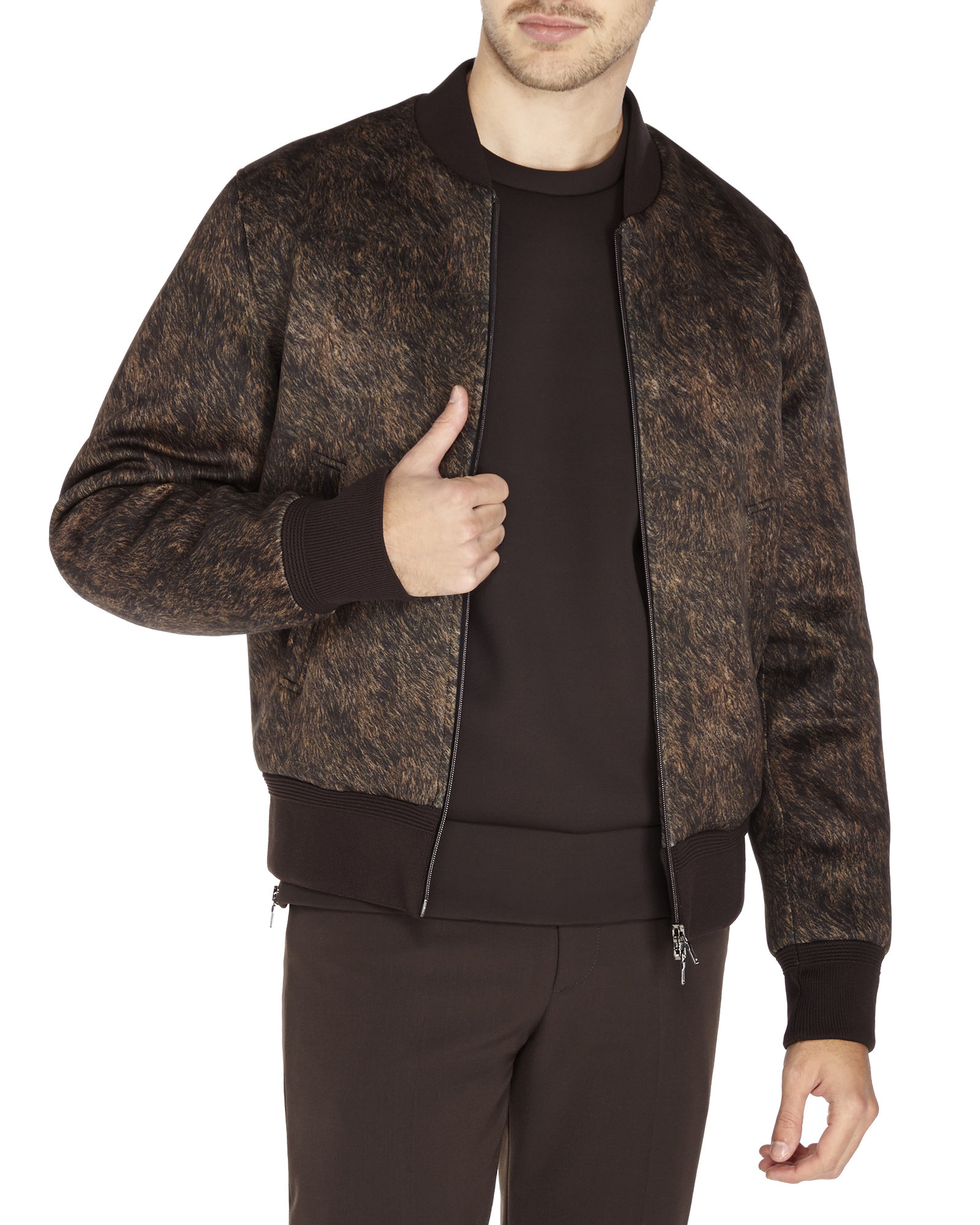 Neil barrett Printed Neoprene Bomber Jacket in Brown for Men | Lyst