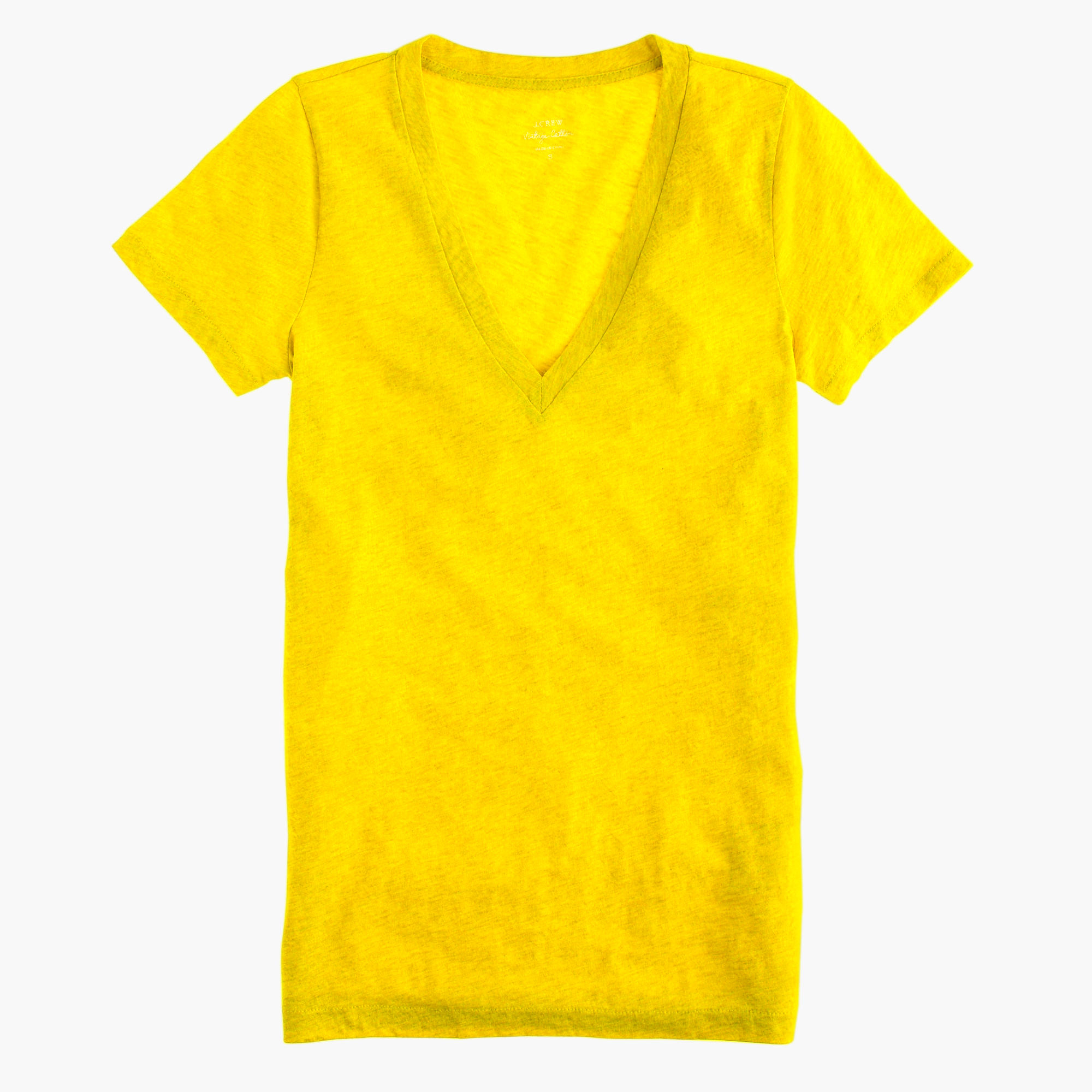 Vintage Cotton V Neck T Shirt In Yellow Bitter