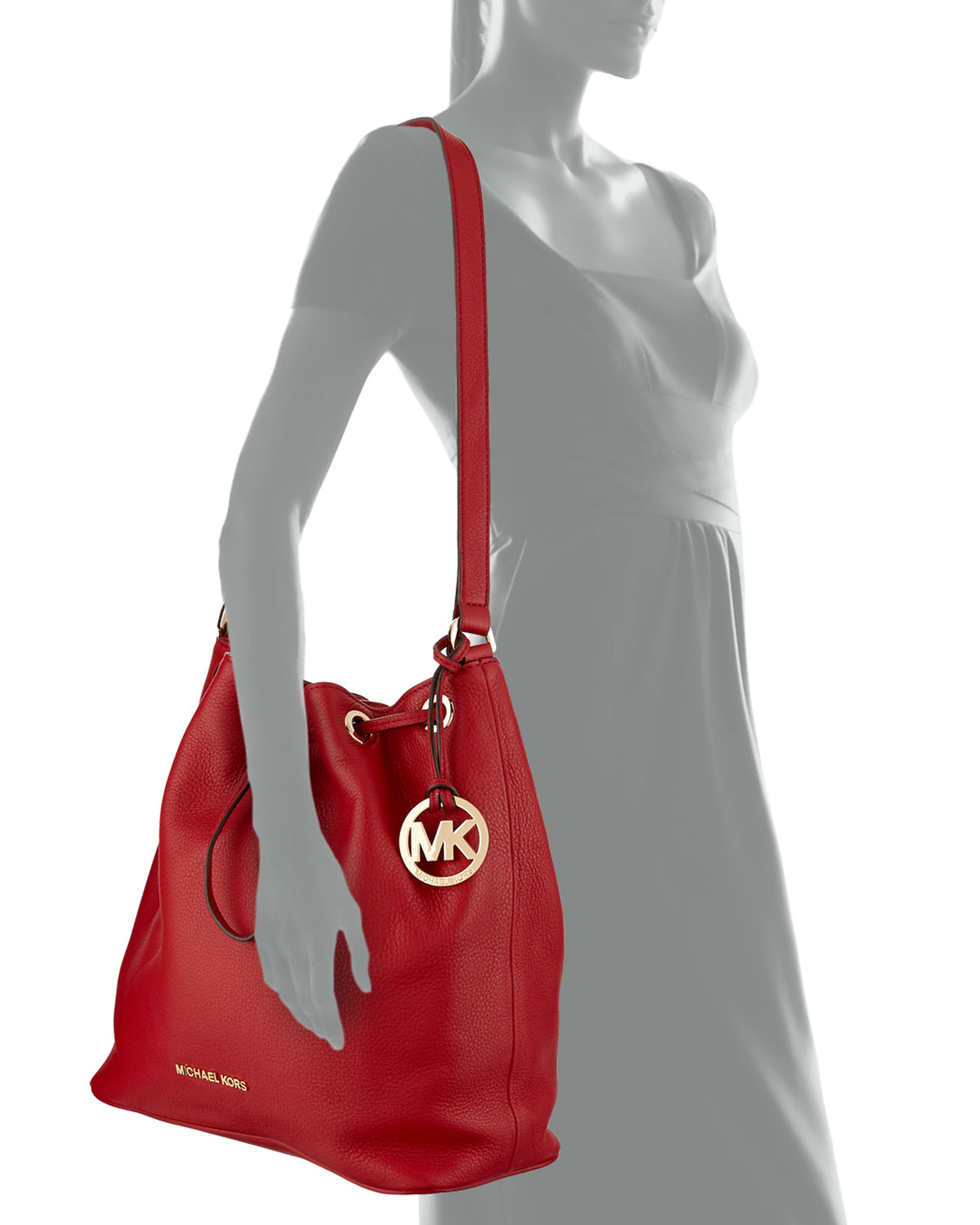 d96f4e39a435 MICHAEL Michael Kors Large Jules Drawstring Shoulder Bag in Red - Lyst