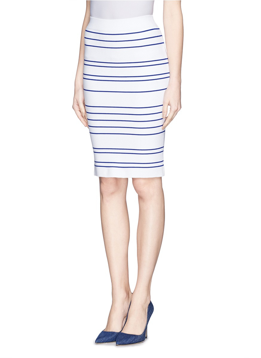 comme moi stripe knit pencil skirt in white lyst