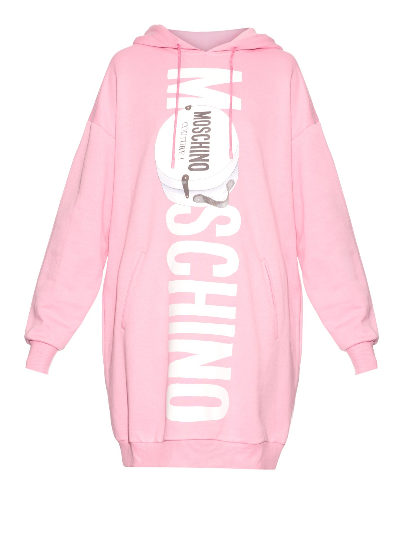 Moschino Oversized Hooded Logo Sweater Dress in Pink | Lyst