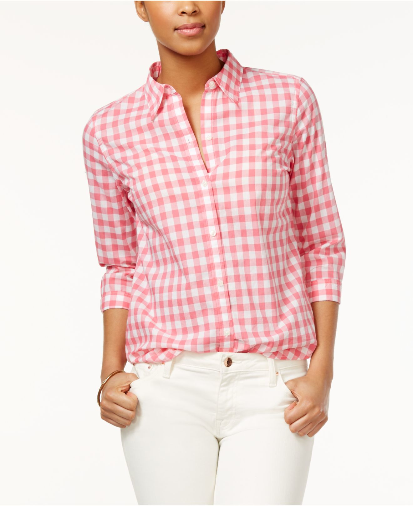 American Living Gingham Button Down Shirt In Pink Lyst