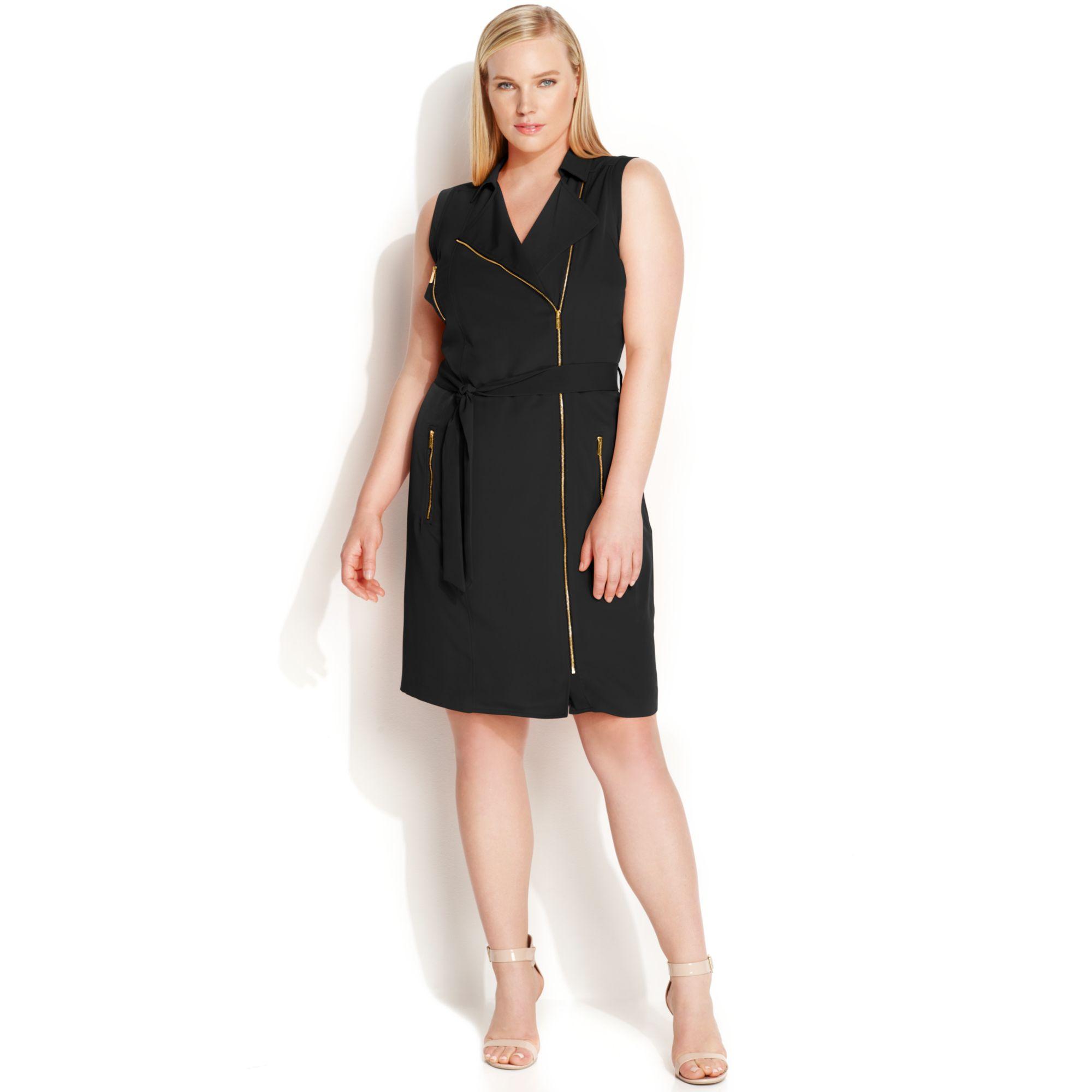Lyst Calvin Klein Plus Size Sleeveless Zipfront Moto Dress In Black
