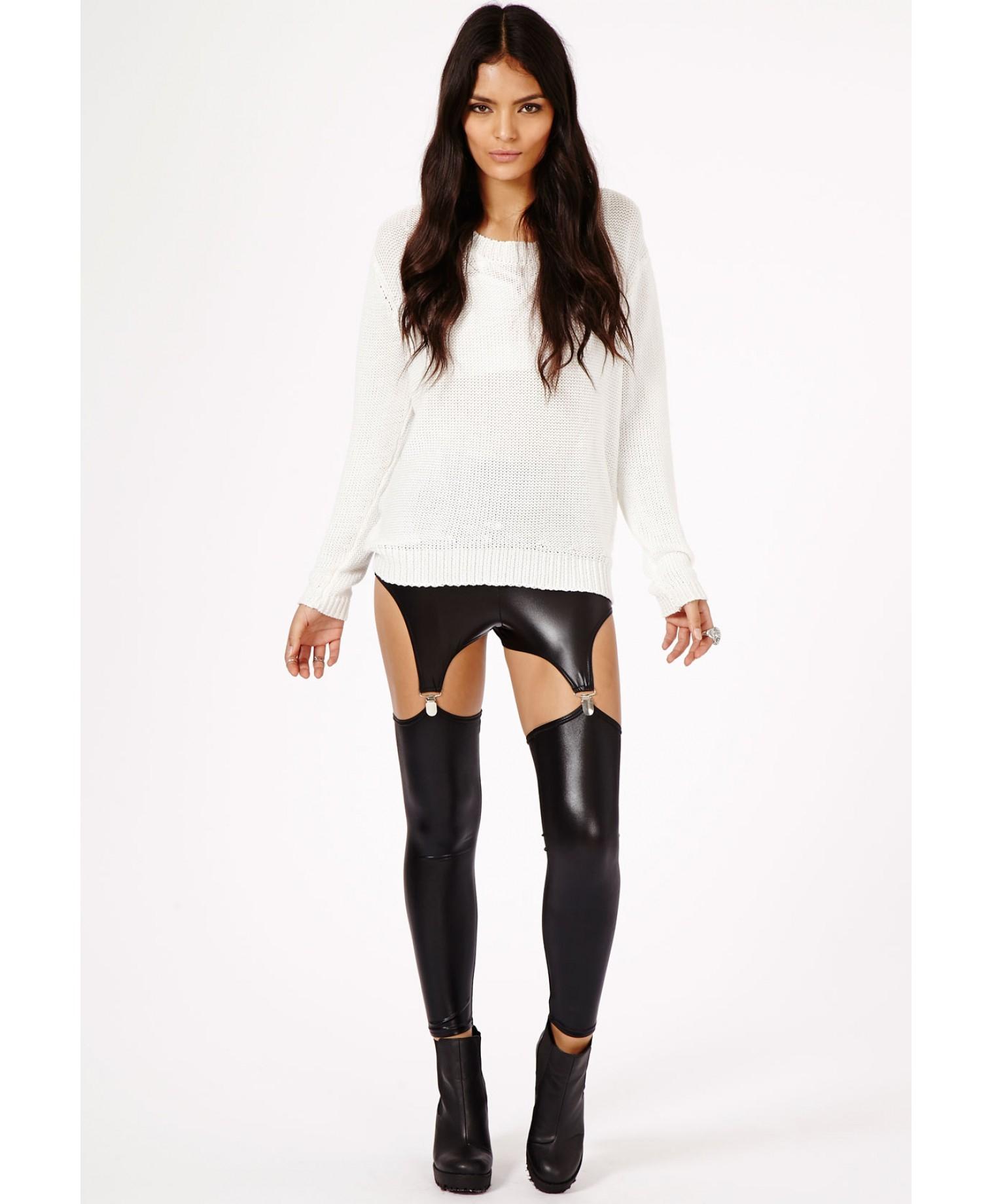 Missguided Posie Wet Look Suspender Leggings In Black - Lyst-2867