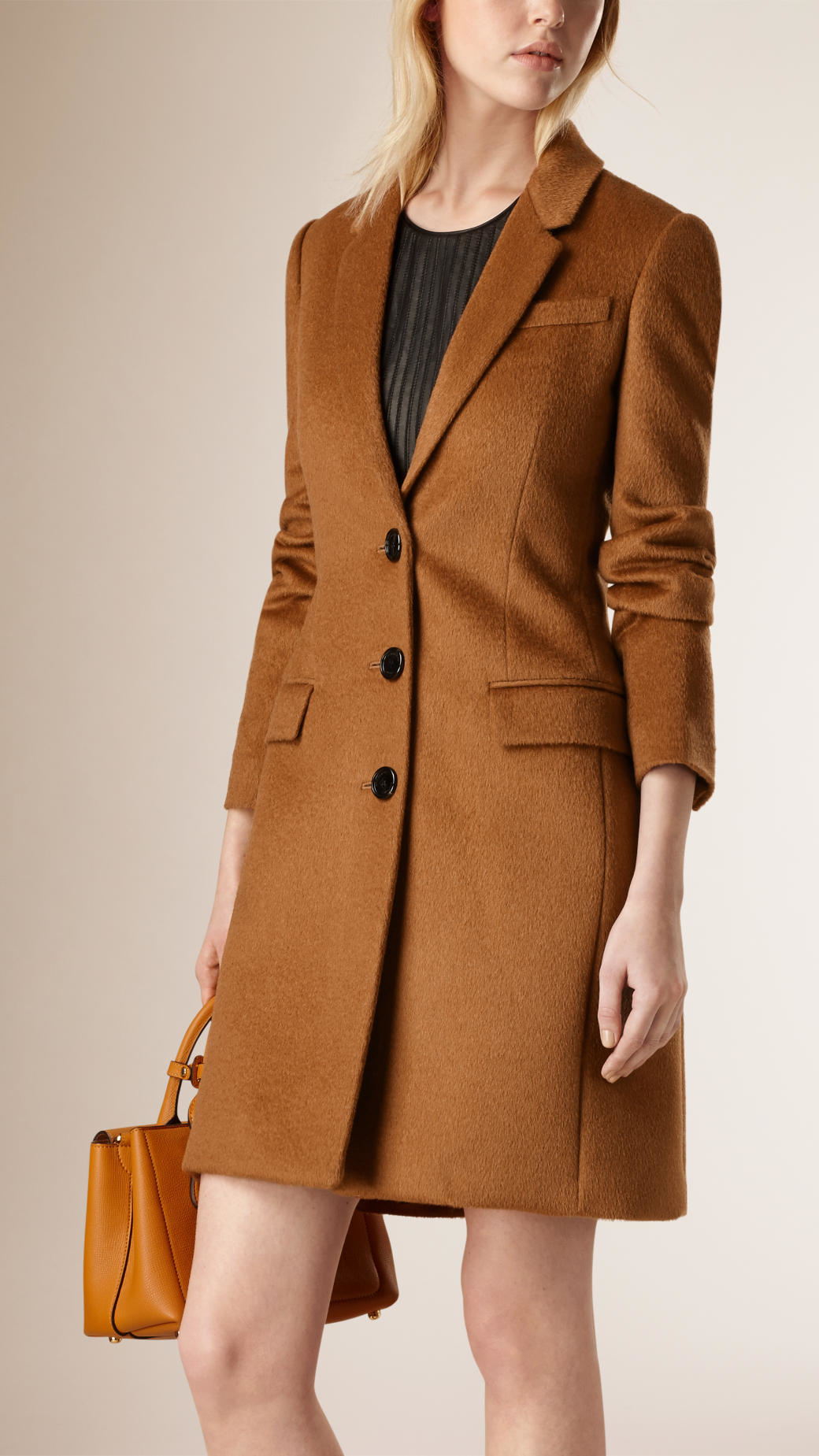 Lyst Burberry Fitted Wool Blend Coat In Brown