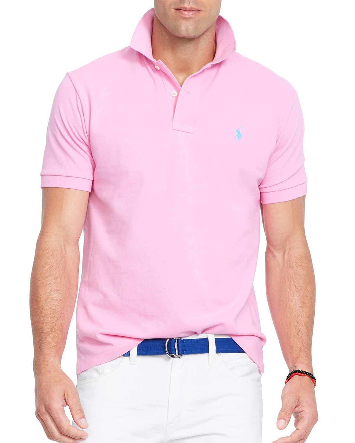 lyst ralph lauren polo classic mesh polo shirt regular fit in pink for men. Black Bedroom Furniture Sets. Home Design Ideas
