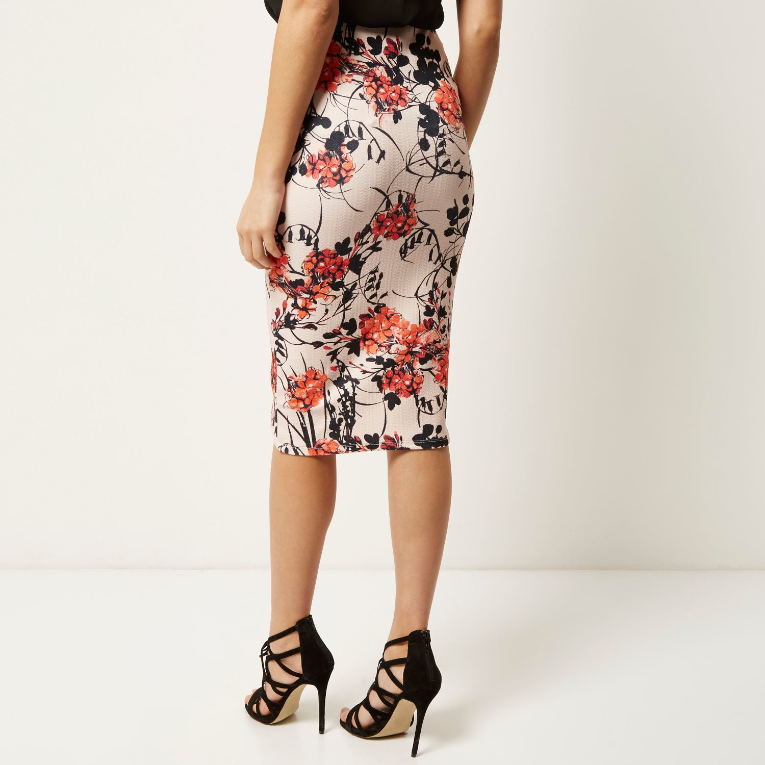 River island Pink Floral Print Pencil Skirt in Pink | Lyst
