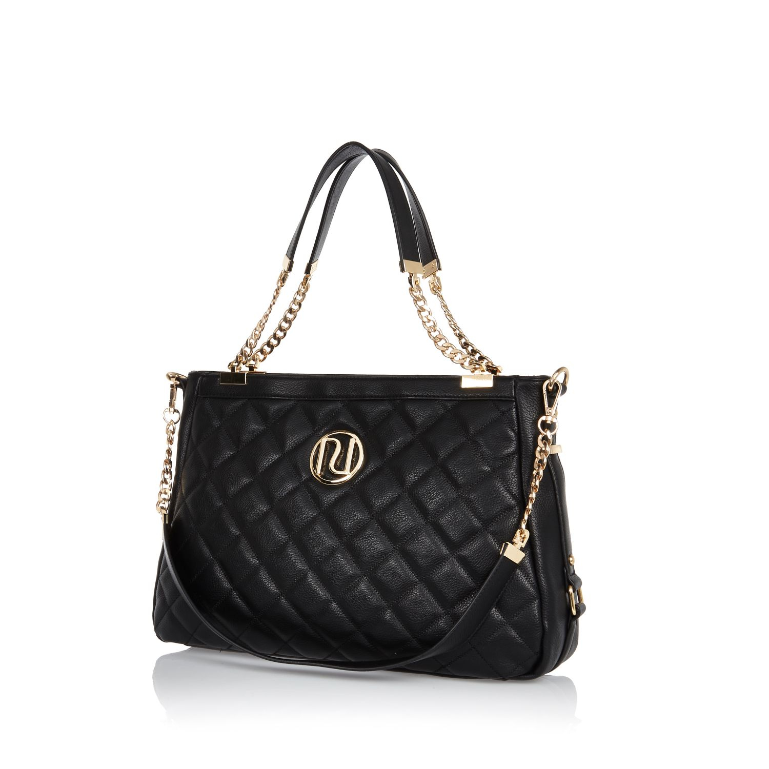 River Island Black Quilted Chain Handle Tote Bag