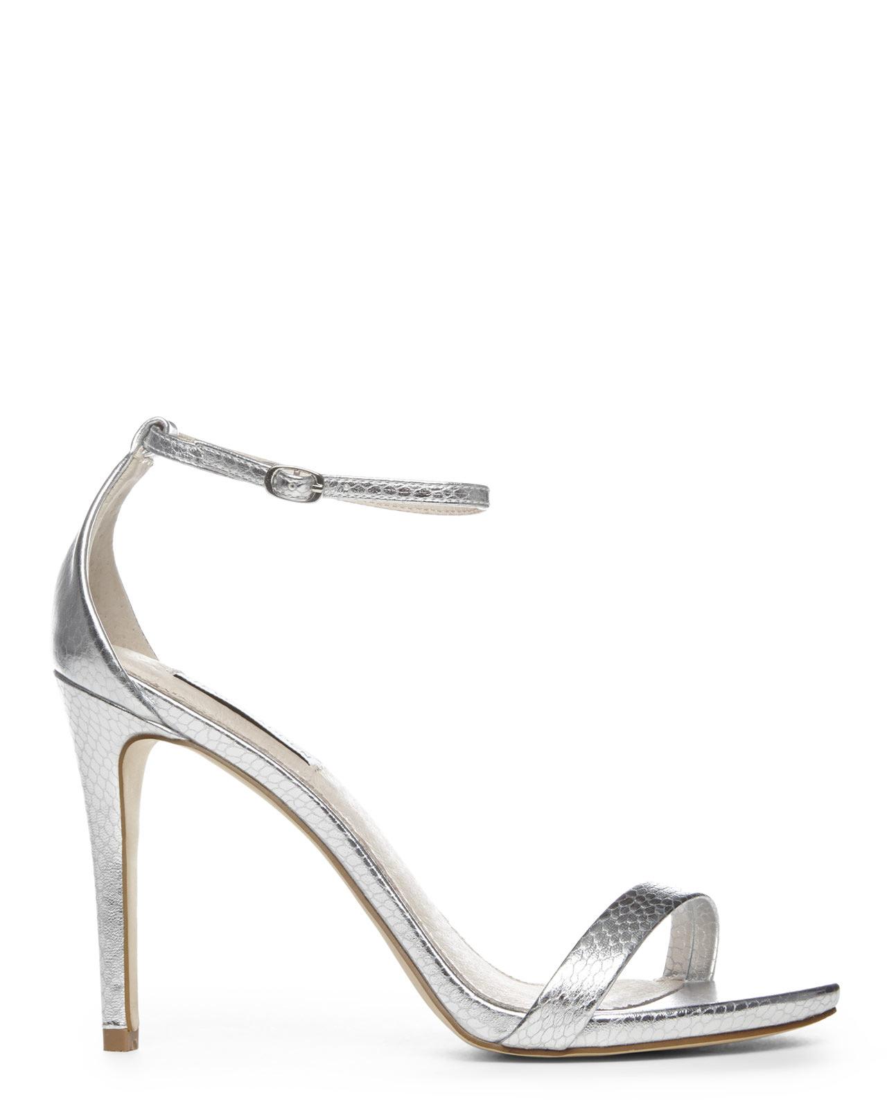 2dde821b398 Steve Madden Metallic Silver Snake Stecy Sandals