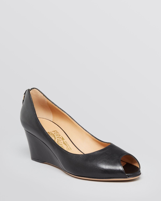 Ferragamo Peep Toe Wedge Pumps Pearlette in Black | Lyst