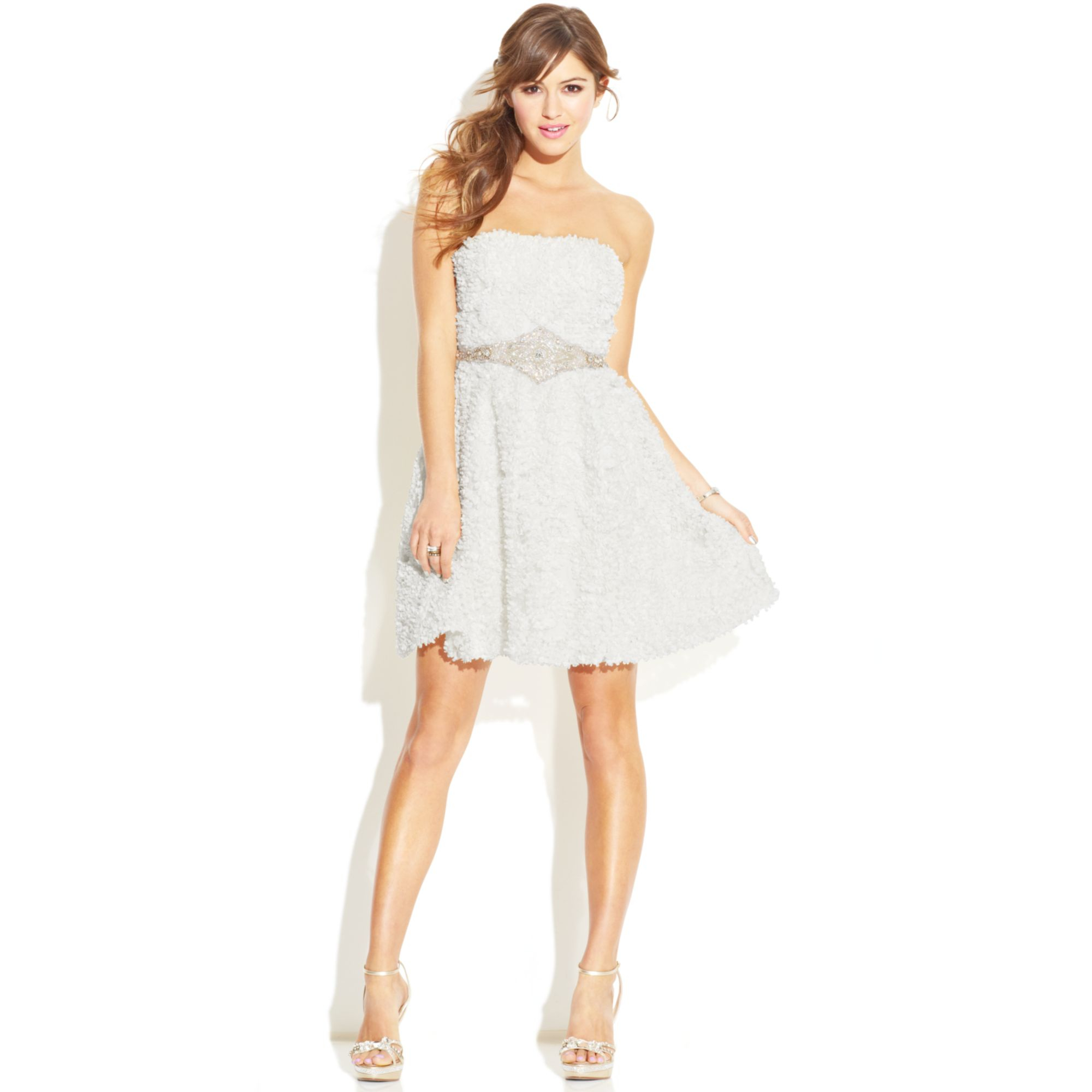 As U Wish Strapless Textured Dress In White Lyst
