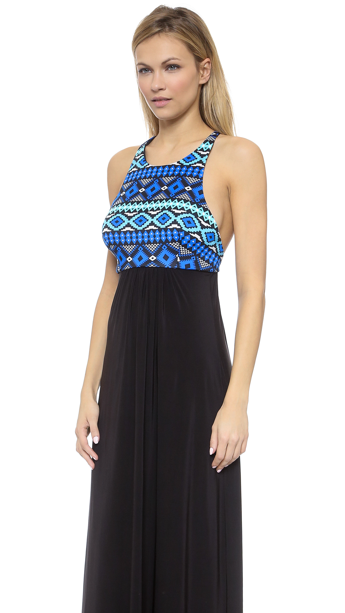 Tbags los angeles braided print maxi dress