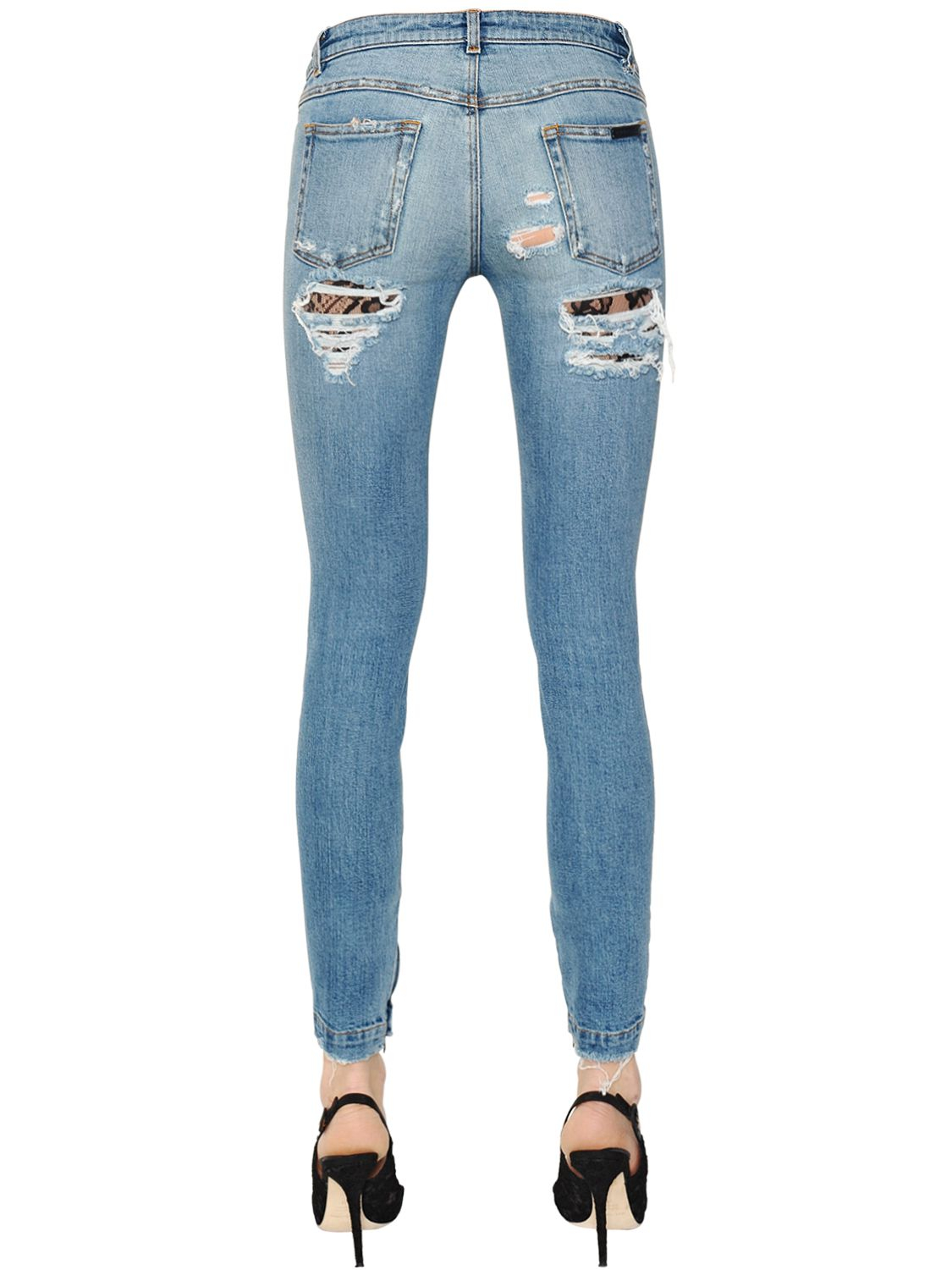 lyst dolce gabbana destroyed denim jeans with lace inserts in blue. Black Bedroom Furniture Sets. Home Design Ideas