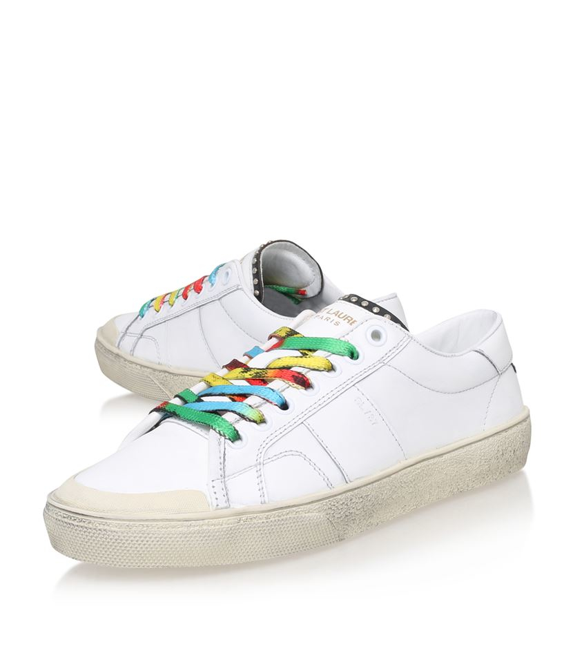 saint laurent rainbow laces studded sneaker in white lyst. Black Bedroom Furniture Sets. Home Design Ideas