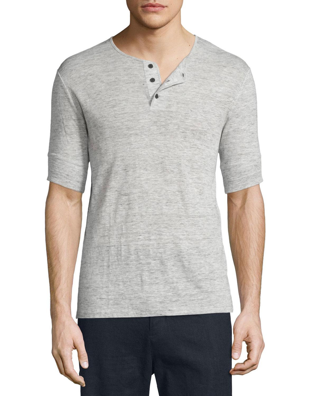Vince Short Sleeve Linen Henley T Shirt In Gray For Men Lyst