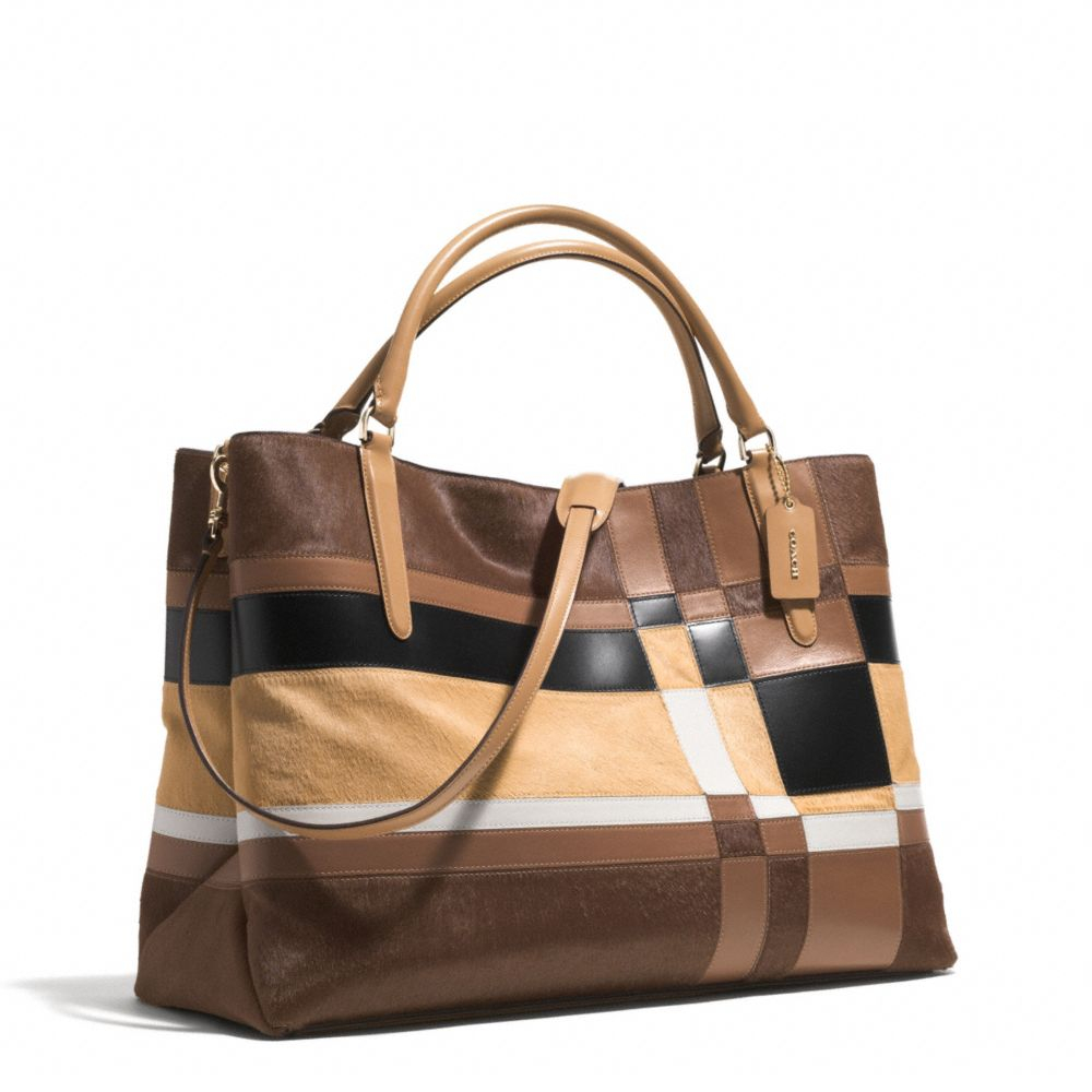 lyst coach large soft borough bag in patchwork haircalf