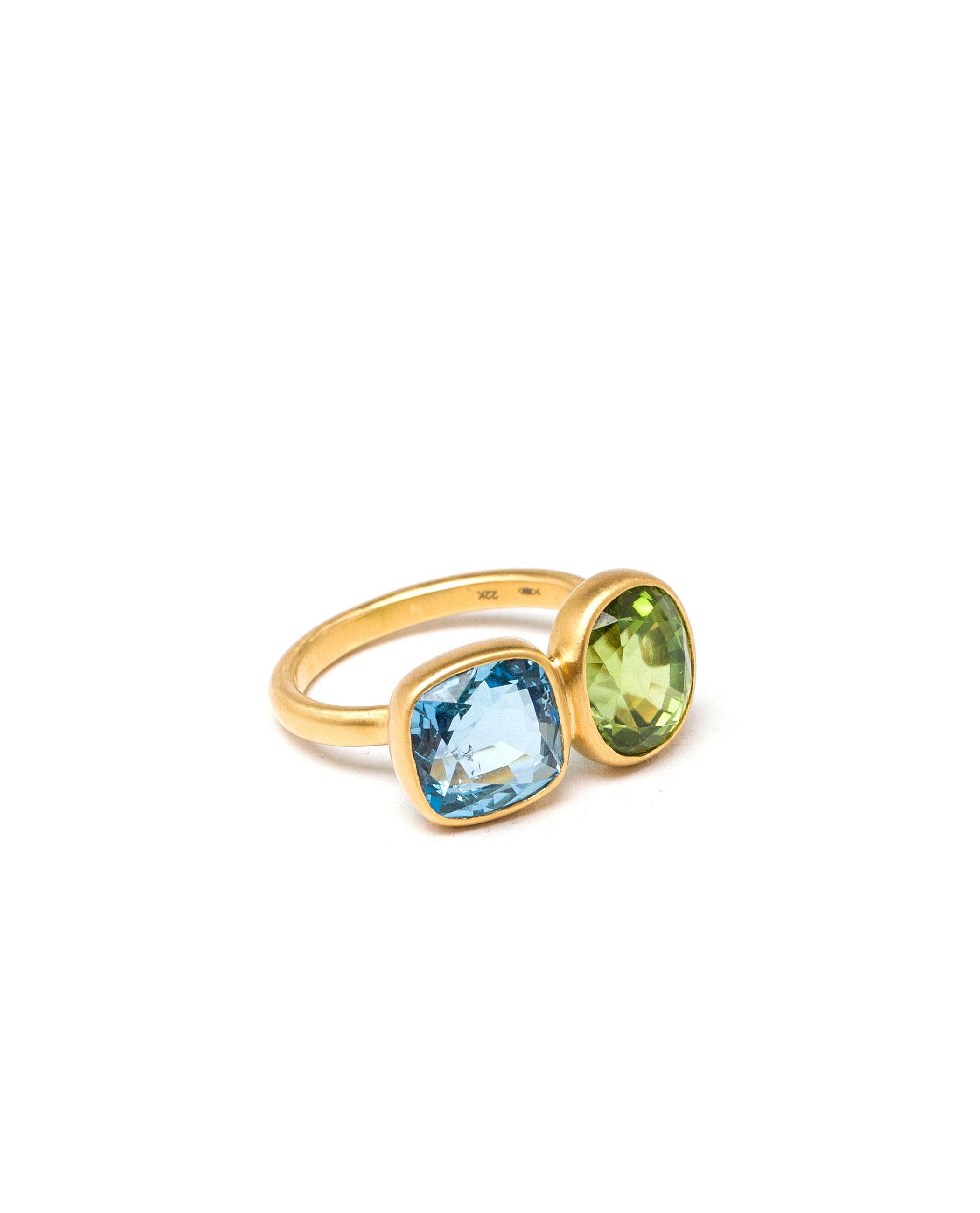 Marie-hélène De Taillac Aquamarine And Peridot Princess Duet Ring