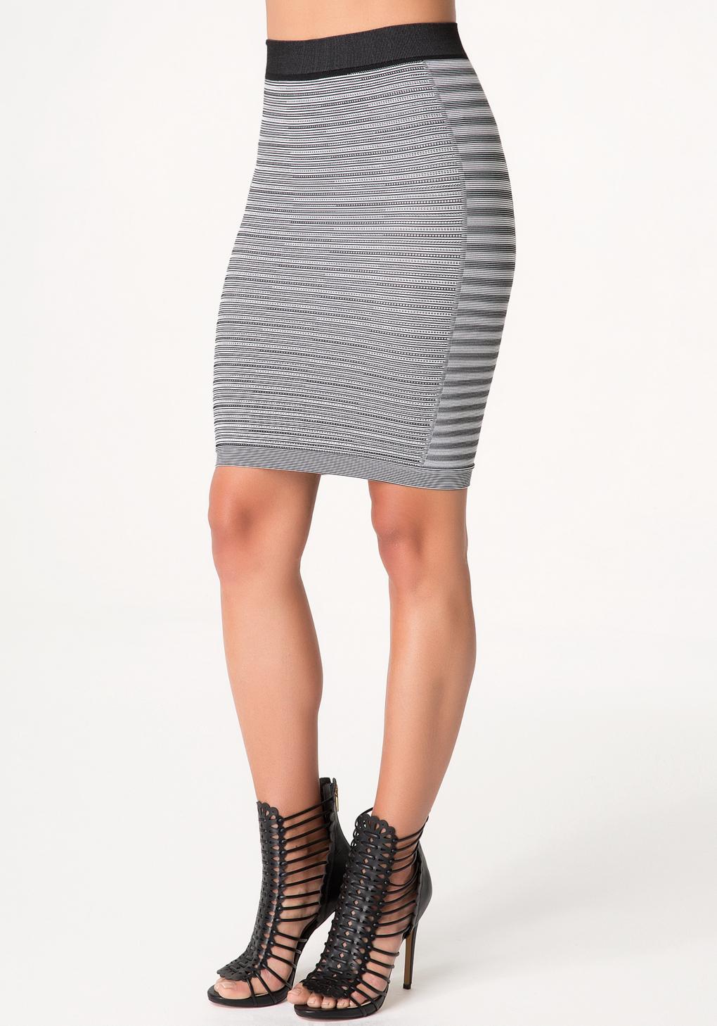 bebe summer stripe pencil skirt in black lyst