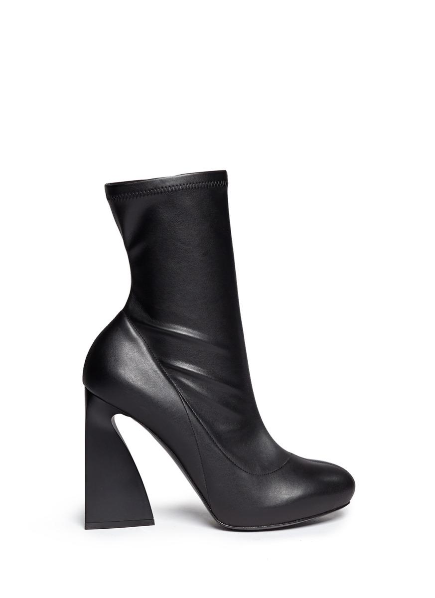 Lyst Stella Mccartney Triangle Block Heel Mid Calf Boots