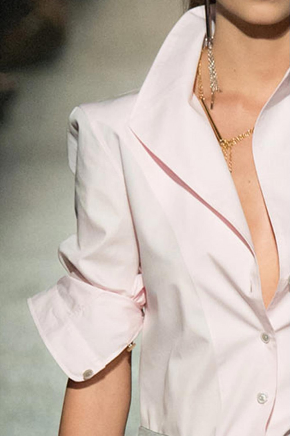 White Blouse Large Collar - Long Blouse With Pants