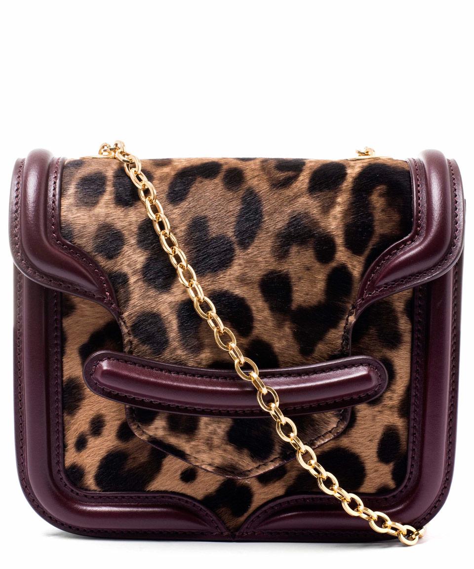 Alexander McQueen Mini Brown Heroine Leopard Cross Body Bag