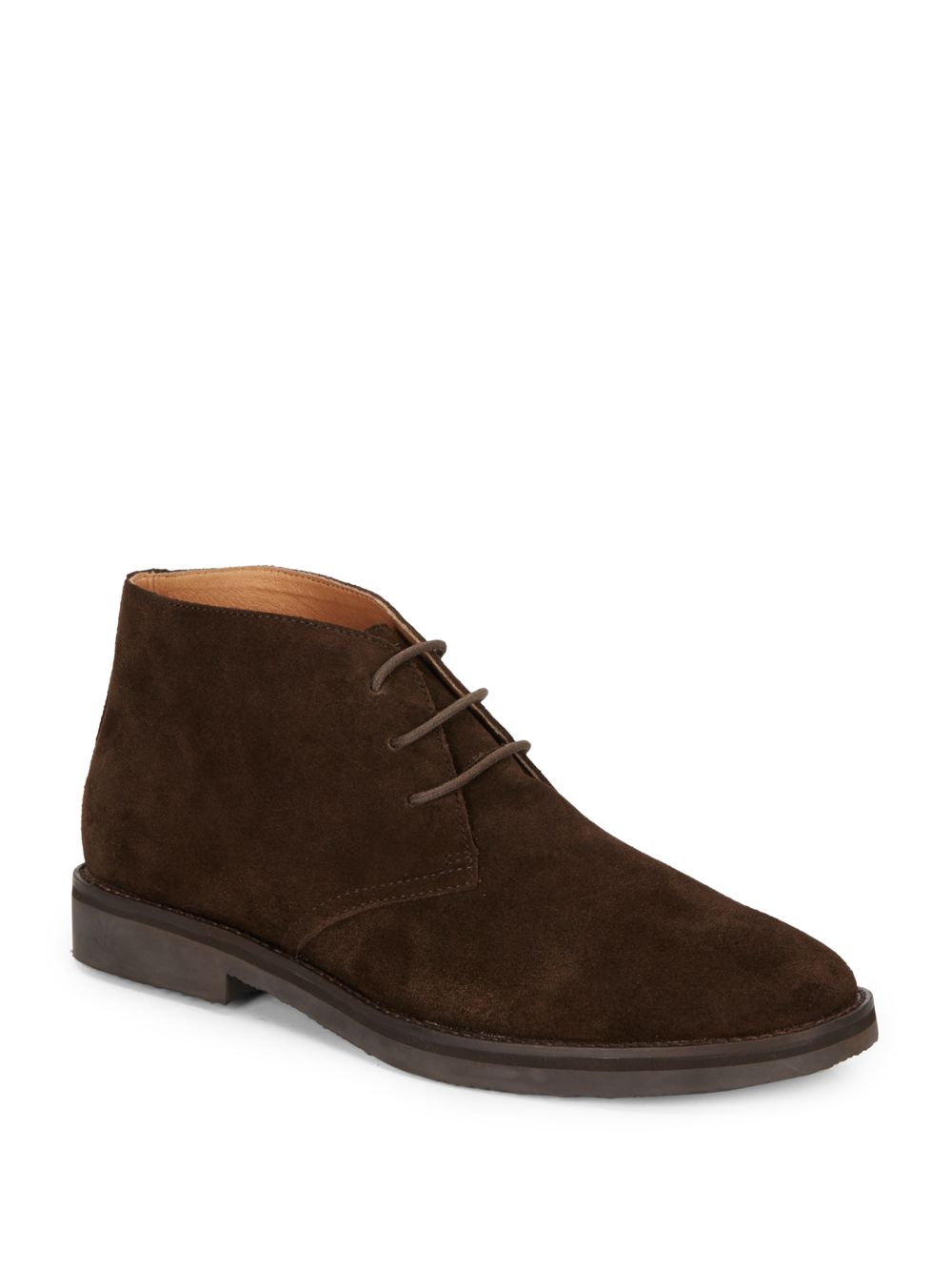 saks fifth avenue plain toe suede chukka boots in brown