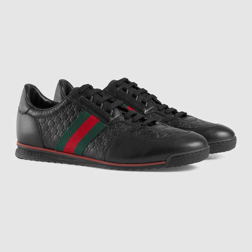 gucci men s black leather sneaker with web 520 from gucci free. Black Bedroom Furniture Sets. Home Design Ideas