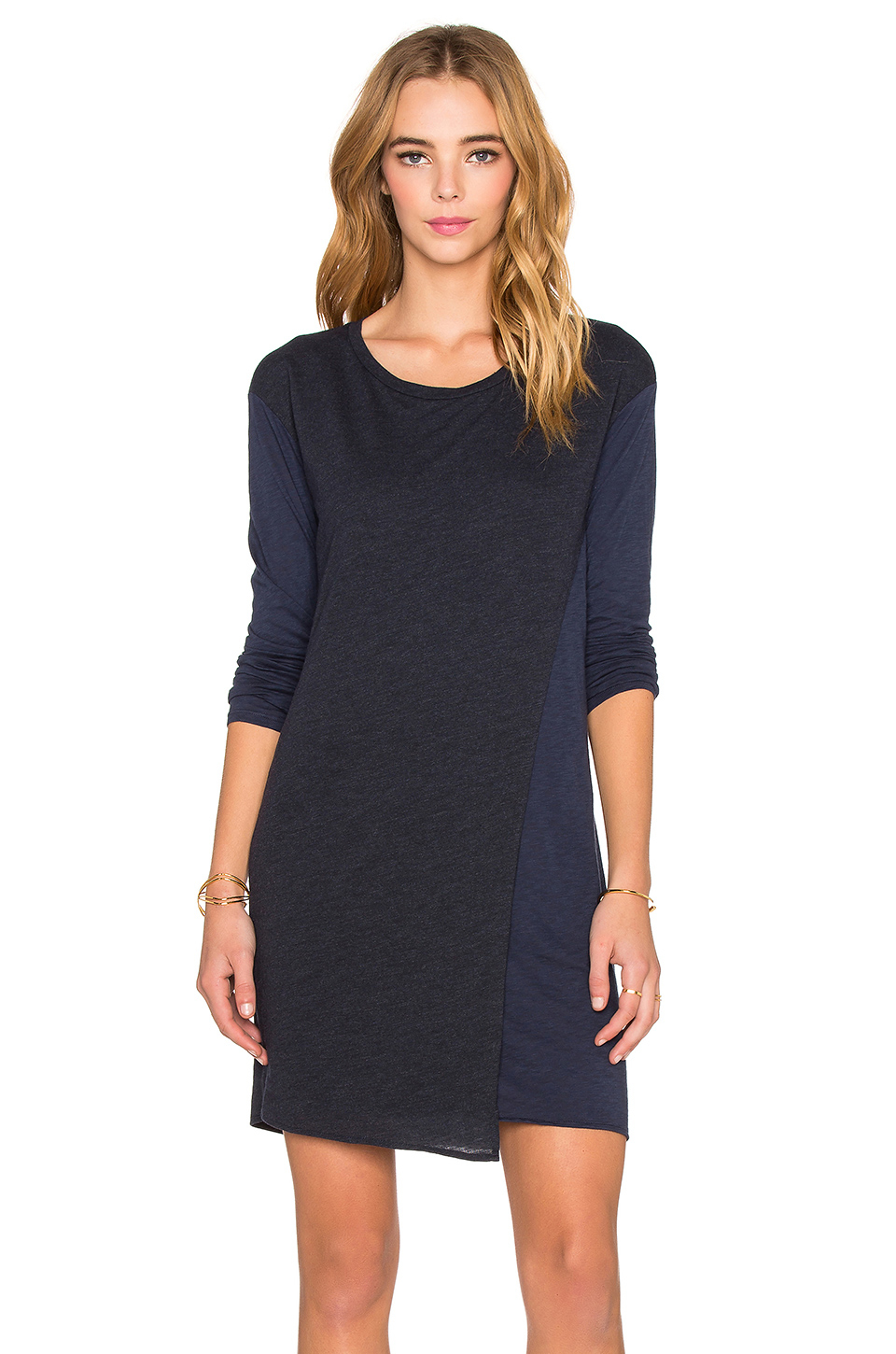 Stateside Long Sleeve T Shirt Dress In Blue Lyst