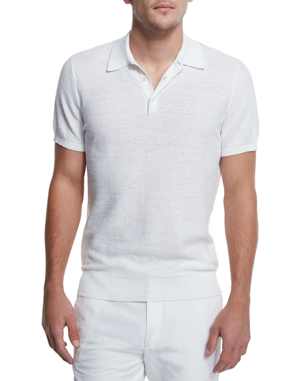 Michael Kors Textured Cotton Linen Polo Shirt In White For
