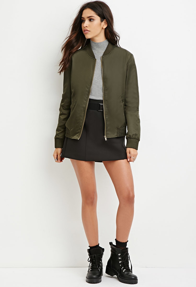 16bc0fd0d Forever 21 Green Zip-up Bomber Jacket