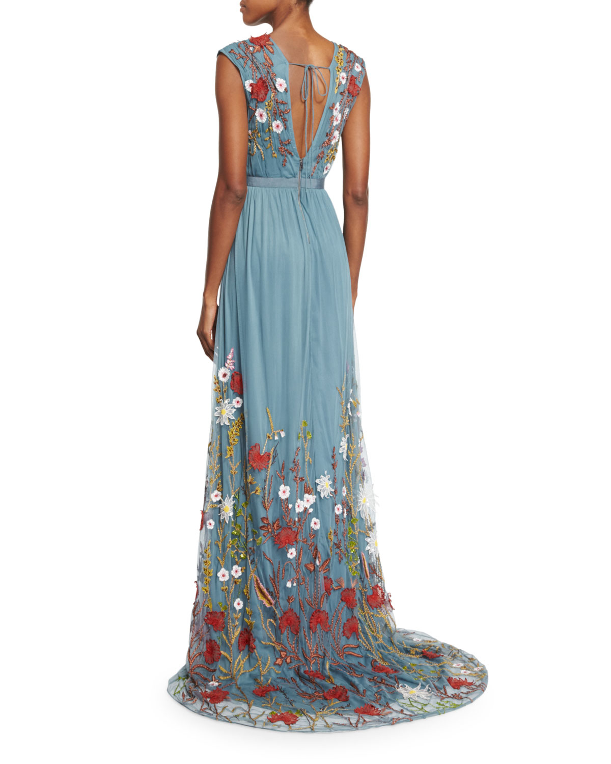 lyst alice olivia merrill floral embroidered sleeveless maxi dress in blue. Black Bedroom Furniture Sets. Home Design Ideas