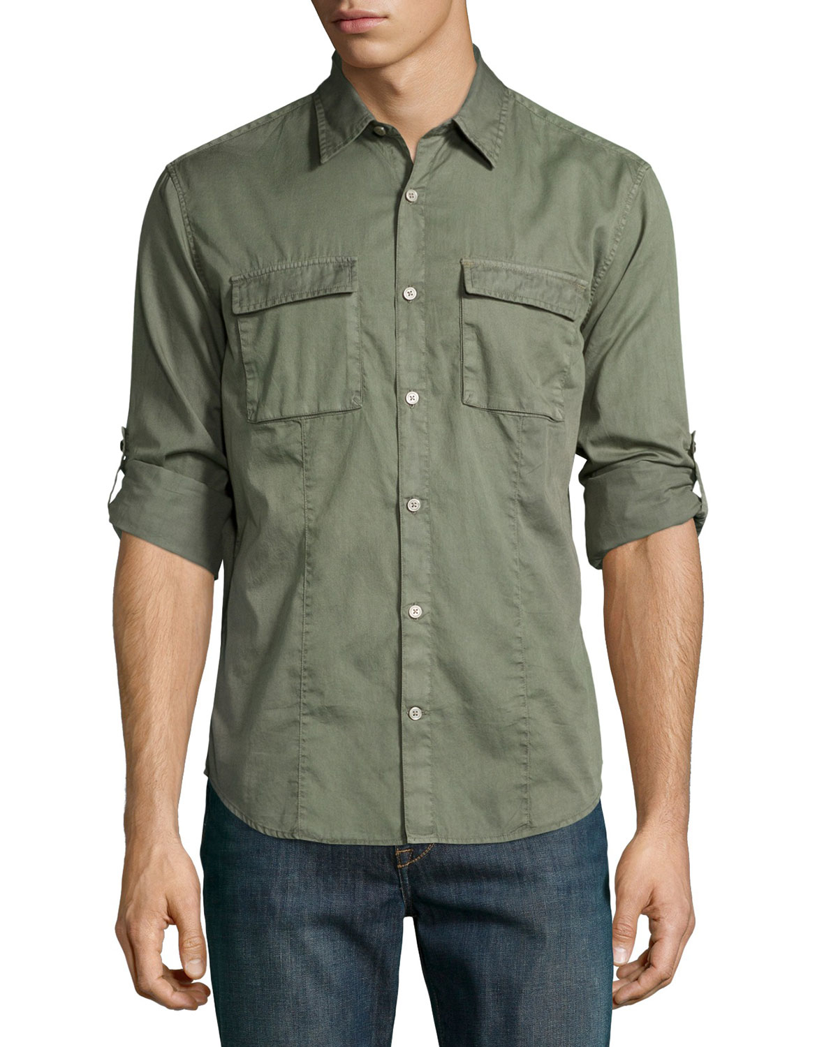 John varvatos chino roll tab utility shirt in green for for Men s roll tab sleeve shirts