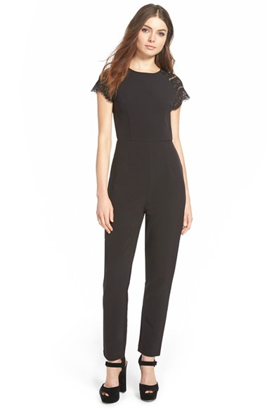 Missguided Lace Sleeve Jumpsuit in Black | Lyst