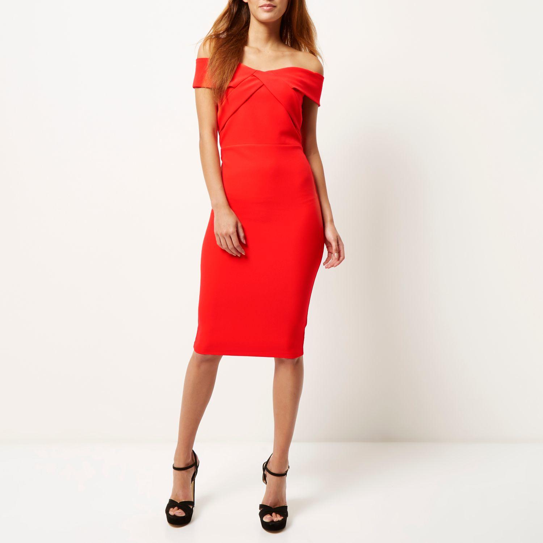 River Island Red Bardot Bodycon Pencil Dress Lyst