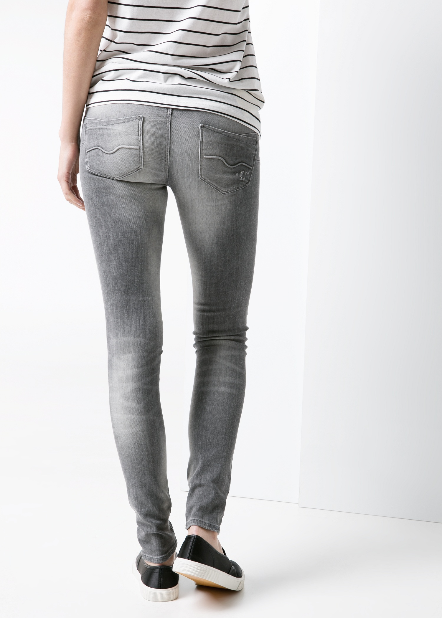 mango push up uptown jeans in gray lyst. Black Bedroom Furniture Sets. Home Design Ideas