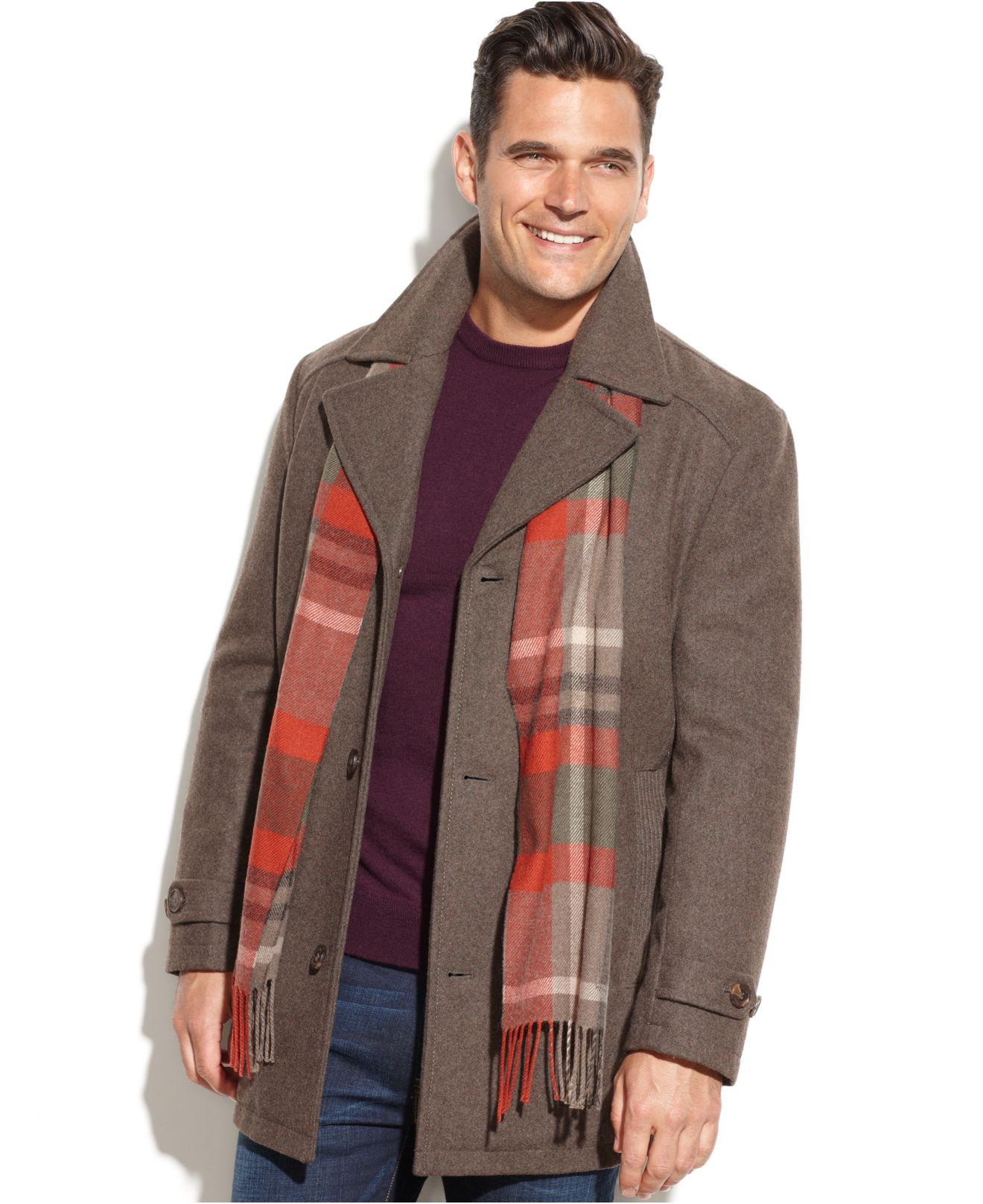 London fog Big And Tall Wool-Blend Walking Coat With Scarf in ...