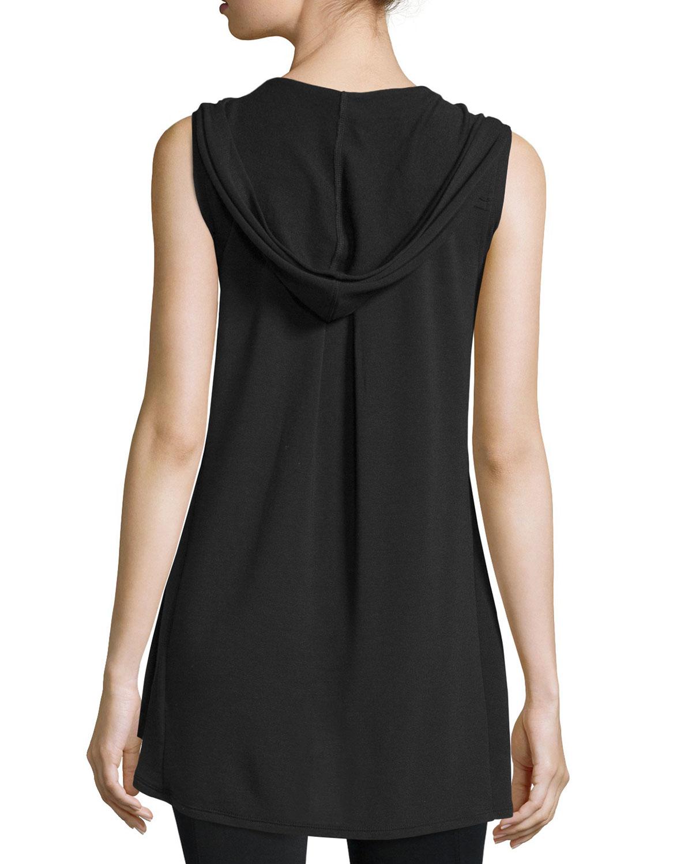 Lyst Neiman Marcus Hooded Zip Front Vest In Black