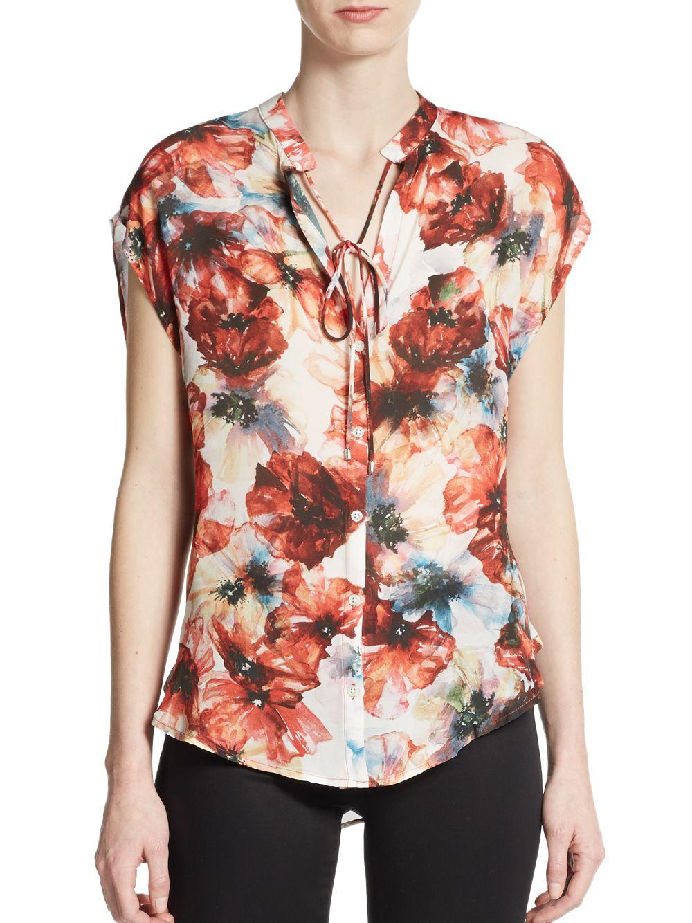 Haute Hippie Floral Silk Blouse Chiffon Blouse Pink