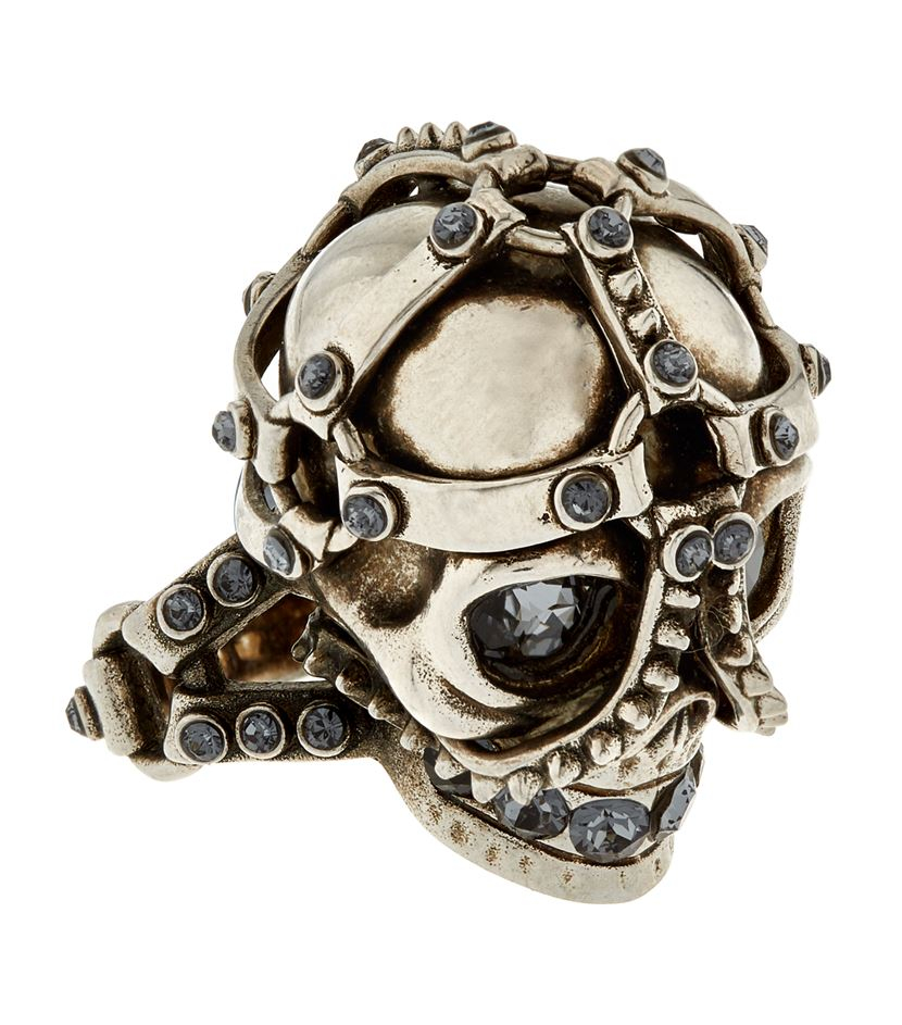 Alexander McQueen Harness Skull Ring in Metallic for Men