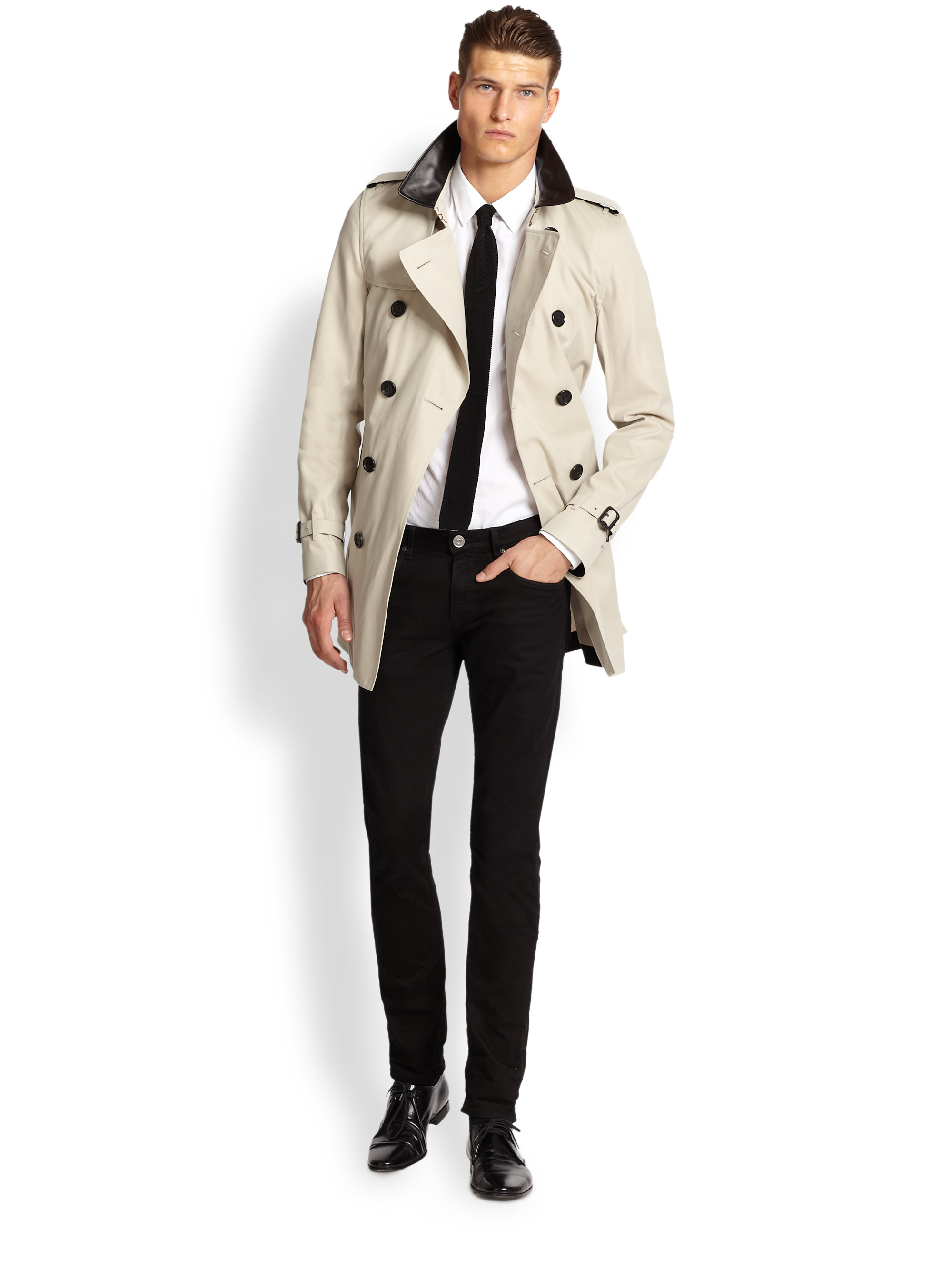 Burberry Leathercollar Trenchcoat in Natural for Men | Lyst